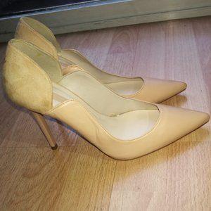 Zara Stilettos Pumps Cut Out Leather Suede Tan